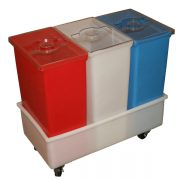 IB-348WCL - IB Series Triple Eleven-Gallon Ingredient Bins with Dolly with Clear Lids