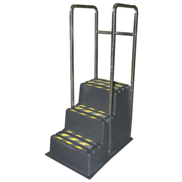 SS3-HR - SS Series Three-Step Safety Step Stand with Handrail   - 26 x 37 x 29
