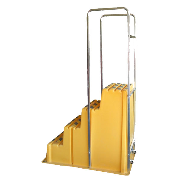 SS4-HR - SS Series Four-Step Safety Step Stand with Handrail - 28 x 46 x 40